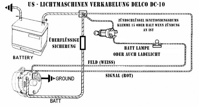 Einfache Lichtmaschinen verdrahtung des DC-10 Alternator.